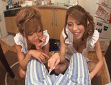 Hot MILF Haruka Sanada and friend are naughty Asian maidshot asian pussy, japanese porn}