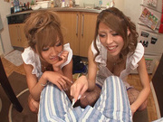 Hot MILF Haruka Sanada and friend are naughty Asian maidshot asian pussy, horny asian}