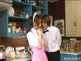 Akiho Yoshizawa Lovely and sexy Asian waitress enjoys a hard fucking