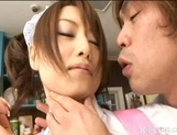 Akiho Yoshizawa Lovely and sexy Asian waitress enjoys a hard fucking