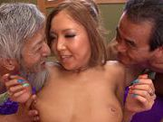 Milf Sena Hasegawa gets drilled by two horny malescute asian, young asian}