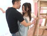Sweet Japanese teen model Remon Aisu enjoys a facial cumshot picture 14