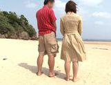 Rear fuck with Reiko Nakamori outdoors on the beach picture 6
