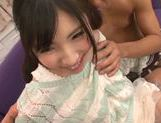 Teen with fancy pigtails Yuki Komiyama screwed by two guys picture 12