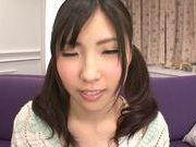 Teen with fancy pigtails Yuki Komiyama screwed by two guys