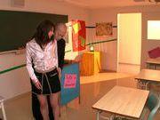 Japanese teacher enjoys hot threesome sex