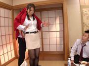 Naughty office milf Asuka seduces her office colleagues