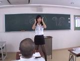 Hot sexy teacher Tsukasa Aoi arranges hardcore action gets bukkake picture 11