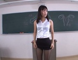 Hot sexy teacher Tsukasa Aoi arranges hardcore action gets bukkake picture 12
