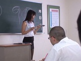 Hot sexy teacher Tsukasa Aoi arranges hardcore action gets bukkake picture 1