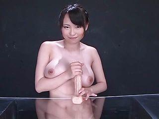 Hot Japanese AV model Akane Yoshinaga fucks tits with a toy