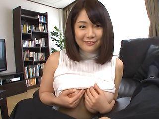 Frisky Asian chick Homare Momono shows off big tits sucks rod on pov