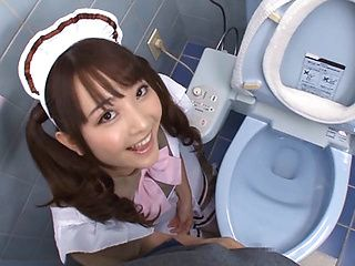 Japanese maid Yui Sasaki sucks cock in pov on a toilet