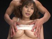 Hot milf Yuma Asami loves group action with double blowjob