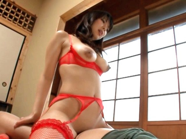 Hot Asian milf in red lingerie is into position 69