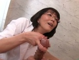 Horny mature nurse treats a guy at Japanese erection recovery clinic