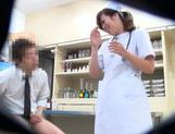 Horny Japanese nurse seen by secret spy cam picture 10