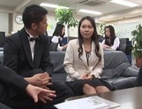 Sexy Japanese office milfs have public sex in their office picture 13