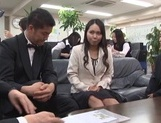 Sexy Japanese office milfs have public sex in their office picture 14