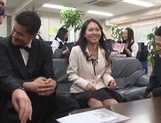 Sexy Japanese office milfs have public sex in their office picture 15