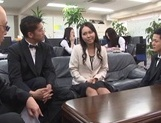 Sexy Japanese office milfs have public sex in their office