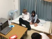 Cute Japanese AV model is fucked by her classmate