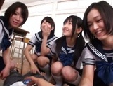 Pretty Japanese schoolgirl take off panties for a wild sex game picture 13