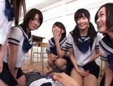 Pretty Japanese schoolgirl take off panties for a wild sex game picture 14