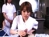 Horny nurses Riho Yu and Natsuki share cock and expose anal for sex