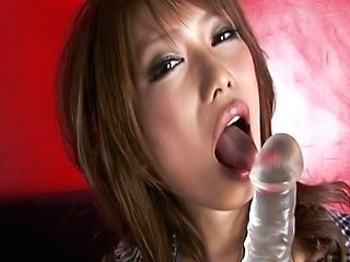 Hikari Hino Lovely Asian model enjoys a dildo before sucking cock