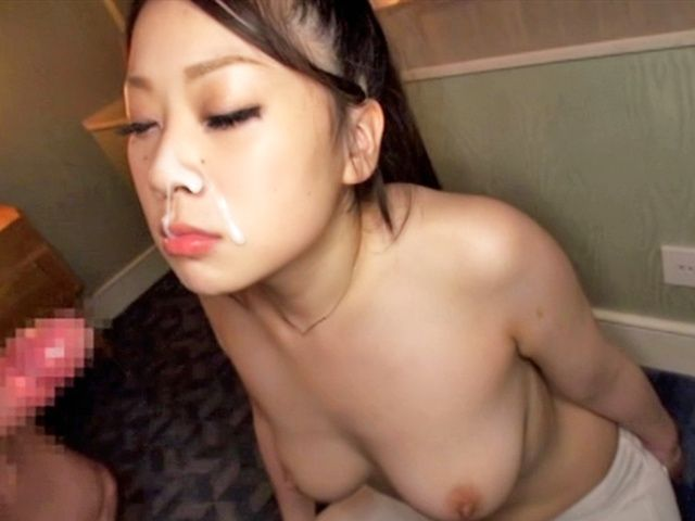 Busty Japanese AV Model gives blowjob and eats cum