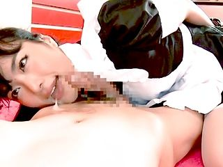 Pigtailed Japanese maid Kana Yume gives a breathtaking throat job