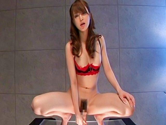 Akiho Yoshizawa Lovely Asian model enjoys a pussy poking with her dildo