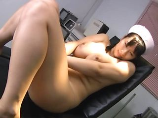 Arousing Asian nurse Hana Haruna enjoys masturbating