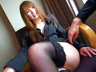 Sweet asian Risa Arisawa gets drilled at work