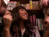 Kinky Japanese schoolgirl Mizuki Hinano screwed by two guys picture 15
