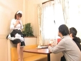 Yui Shimizu Cute Asian waitress gets a threesome