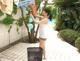 Steaming girl Kaori Otonashi in sexy shorts teased outdoors