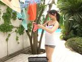 Steaming girl Kaori Otonashi in sexy shorts teased outdoors picture 3