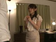 Busty housewife Yuu Konishi gets fondled and engulfs cock