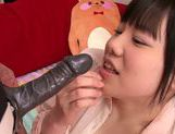 Horny Asian babe Nene Wakana performs dildo sucking picture 12