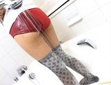 Japanese AV model is a beauty showing off her hot ass in her sexy stockings
