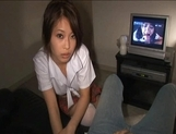 Saki Ootsuka NAughty Asian schoolgirl enjoys giving hand jobs