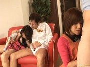 Riko Tachibana Asian gal has lesbian fun with a companion