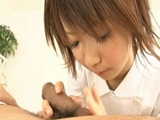 Miriya Hazuki Asian doll gives head and gets a pussy licking
