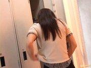 Reona Kanzaki Asian beauty gives an amazing blowjob in the locker room