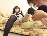 Yuri Asian maid gets a cumshot on her foot picture 12