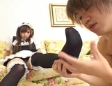 Yuri Asian maid gets a cumshot on her foot