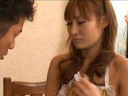 Kirara Asuka Japanese gal cooks in her hot apron