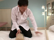 Busty milf Ruri Saijo gets fucked hard by a horny massage therapist